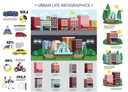 Illustration pour Urban life infrastructure elements colorful infographic poster with public and personal transport diagrams population housing vector illustration - image libre de droit