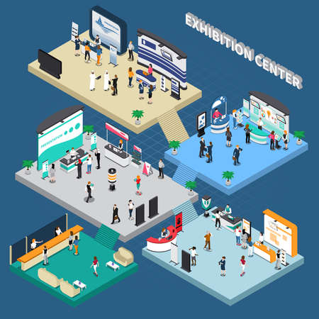 Illustration pour Multistory exhibition center isometric composition on blue background with exposition stands, business people, vector illustration - image libre de droit