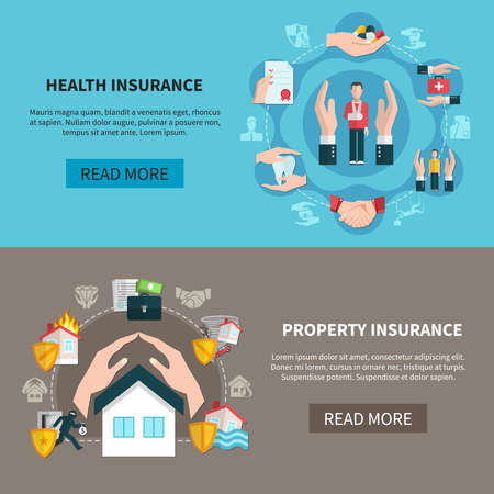 Illustration pour Horizontal banners with insurance of medical care and property against fire, theft and flood isolated vector illustration - image libre de droit
