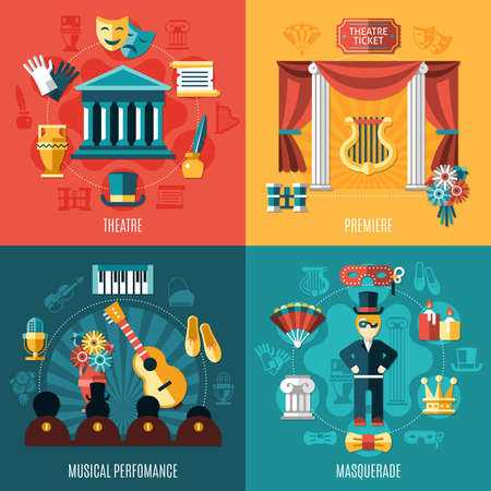 Illustration for Four squares theatre icon set with premiere musical performance and masquerade descriptions vector illustration - Royalty Free Image