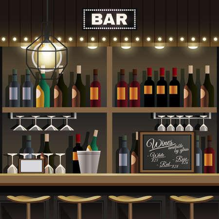 Illustration pour Cafe restaurant pub bar realistic interior detail with wine liquor bottles display shelves and counter stools vector illustration - image libre de droit
