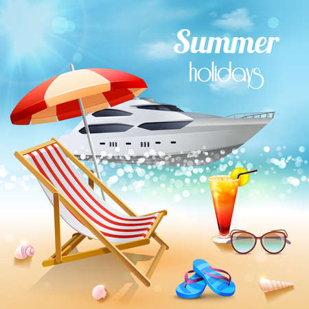 Illustration pour Realistic summer holidays composition sunbed and attributes for swimming against a beautiful expensive boat vector illustration - image libre de droit