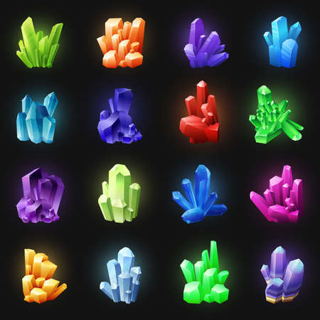 Illustration pour Realistic colorful crystals set of different shapes on black background isolated vector illustration - image libre de droit