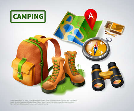 Illustration pour Camping realistic composition with big green headline and icon set on theme vector illustration - image libre de droit