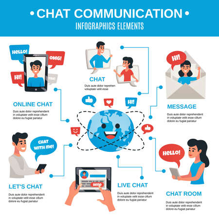 Illustration pour Effective private and business interactive communication with life chat messaging on mobile electronic devices flat infographic vector illustration - image libre de droit