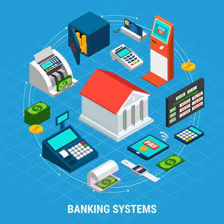 Illustration pour Banking systems isometric round composition on blue background with office building, professional equipment, payment terminals vector illustration - image libre de droit