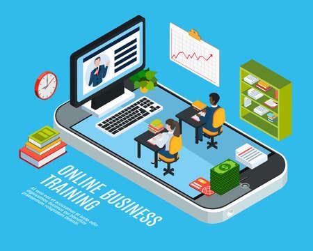 Illustration pour Colored 3d webinar isometric concept with online business training description or headline vector illustration - image libre de droit
