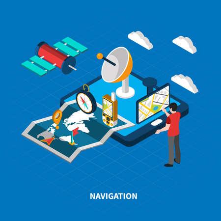 Illustration pour Navigation concept with map and search symbols on blue background isometric vector illustration - image libre de droit