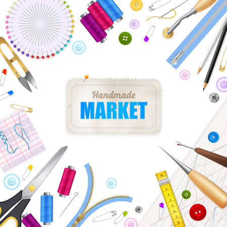Illustration for Handmade market realistic white background with frame compose of sewing tools and accessories vector illustration - Royalty Free Image