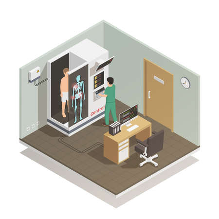 Illustration for Advance electronic robotic system for future   automated diagnostic tasks isometric composition with medical technician patient vector illustration - Royalty Free Image