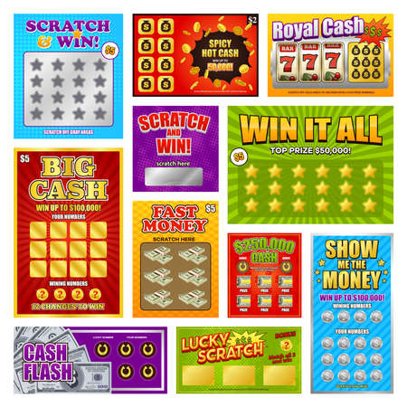 Illustration for Set of game scratch win cards and tickets using for instant lottery isolated vector illustration - Royalty Free Image