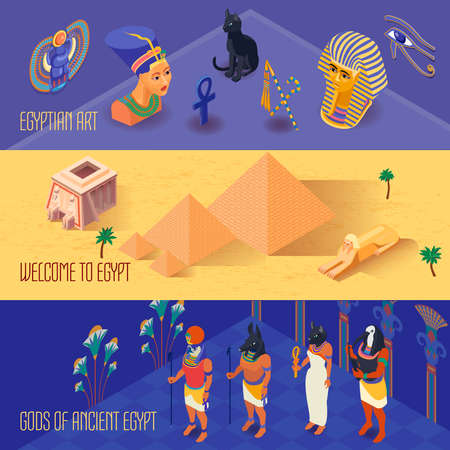 Illustration pour Isometric horizontal banners set with ancient egyptian gods and art 3d isolated vector illustration - image libre de droit