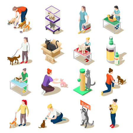 Illustration pour Set of isometric icons animal care volunteers, feeding, walking and grooming, veterinary inspection isolated vector illustration - image libre de droit