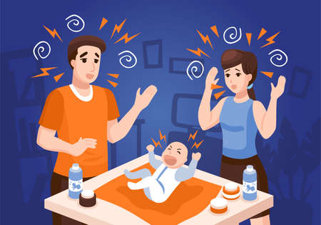 Illustration for Infants sleeping problems composition with frustrated parents soothing crying newborn baby at night blue background vector illustration - Royalty Free Image