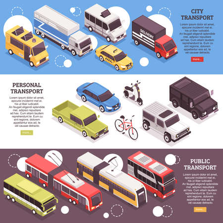 Illustration pour Set of horizontal isometric banners, city carriers, personal vehicles and public transport, isolated vector illustration - image libre de droit