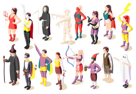 Illustration pour Masquerade isometric icons set with people wearing costumes of mummy sage demon ghost superhero pirate gnome isolated vector illustration - image libre de droit