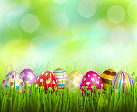 Illustration for Colorful painted easter eggs on green grass on blurred background with bokeh realistic vector illustration - Royalty Free Image