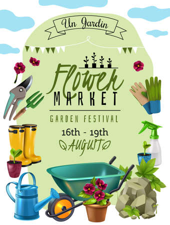 Illustration for Cottage plants festival flower market announcement poster with event dates and gardener tools accessories advertisement vector illustration - Royalty Free Image