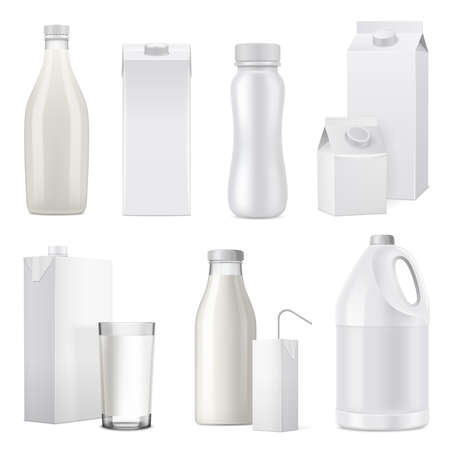 Illustration pour Isolated white realistic milk bottle package icon set from glass plastic and paper vector illustration - image libre de droit