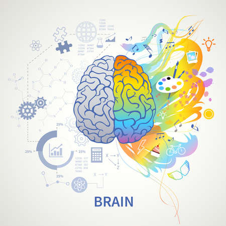 Illustration pour Brain functions concept infographic symbolic depiction with left side logic science mathematics right arts creativity vector illustration - image libre de droit