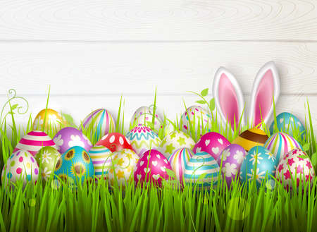 Illustration pour Easter composition with colourful images of festive easter eggs on green grass surface with bunny ears vector illustration - image libre de droit