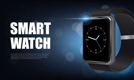 Illustration pour Dark style realistic smart watch horizontal banner with for advertising on site vector illustration - image libre de droit