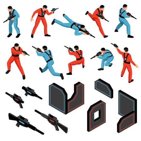 Illustration pour Laser tag game ammunition gear infrared sensitive targets vests guns players isometric icons set isolated vector illustration - image libre de droit