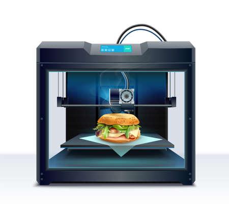 Ilustración de Realistic composition with process of burger 3d printing vector illustration - Imagen libre de derechos