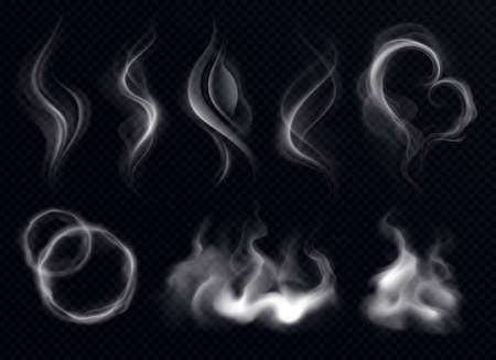 Illustration pour Steam smoke with ring and swirl shape realistic set white on dark transparent background isolated vector illustration - image libre de droit