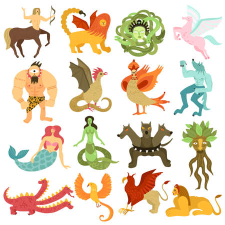 Illustration for Mythical creatures characters colorful set  with mermaid pegasus centaur chimera dragon cyclopes gorgon medusa isolated vector illustration - Royalty Free Image