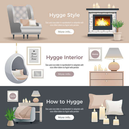 Illustration pour Scandinavian hygge style interior design 3 horizontal website banners with fireplace reading nooks candles pillows vector illustration - image libre de droit