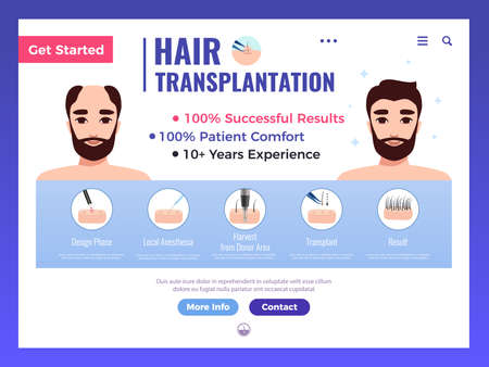 Illustration pour Hair transplantation web banner with infographics advertising and interface elements on white background vector illustration - image libre de droit