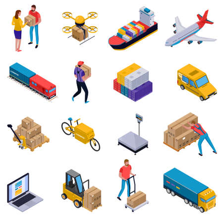 Illustration pour Isometric colorful set of icons with delivery transport loaders and couriers at work isolated on white background 3d vector illustration - image libre de droit