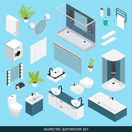 Illustration for Bathroom colored isometric icon set with furniture and elements needed for repair vector illustration - Royalty Free Image