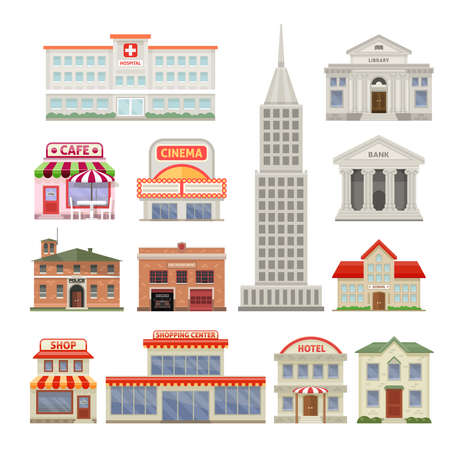 Illustration for City buildings decorative icons set with administrative and residential constructions hotel cafe and cinema isolated vector illustration - Royalty Free Image