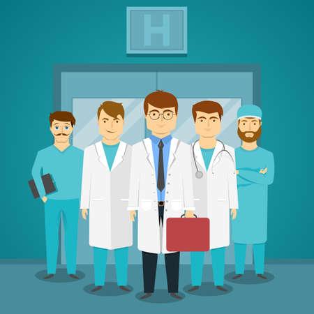 Ilustración de Group of medical specialists in hospital with leading doctor on background of glass doors vector illustration - Imagen libre de derechos