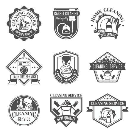 Illustration for Isolated black and white cleaning emblems or stickers in different shapes and types with ribbons vector illustration - Royalty Free Image