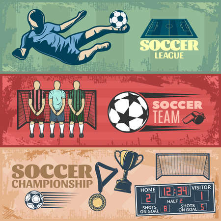 Illustration pour Soccer horizontal banners with team during penalty sports equipment trophies on grunge style background isolated vector illustration - image libre de droit
