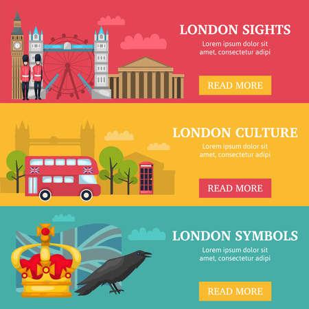 Illustration pour Three horizontal london banner set with London sights culture and symbols descriptions vector illustration - image libre de droit