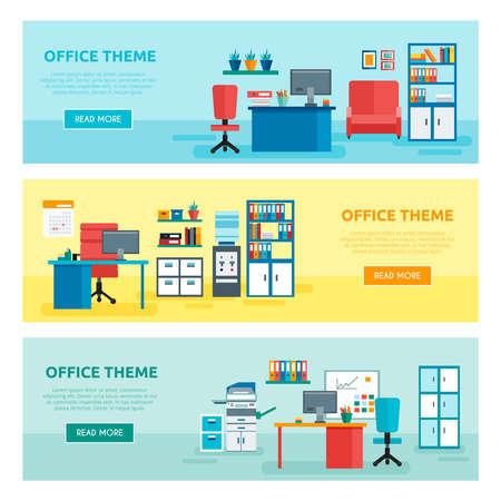 Illustration pour Three horizontal colored office banner set with office theme descriptions and buttons vector illustration - image libre de droit