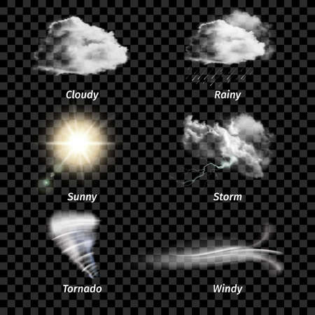 Illustration for Realistic isolated colored weather icon set with type of weather on transparent background vector illustration - Royalty Free Image