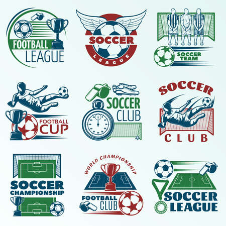 Illustration pour Soccer colored emblems with players sports equipment trophies referees objects on pale blue background isolated vector illustration - image libre de droit