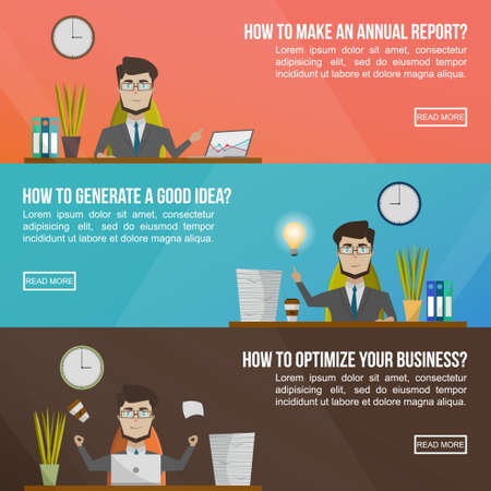 Illustration pour Business banner set with man in a suit asking questions like how to make an annual report how to generate a good idea and how to optimize your business vector illustration - image libre de droit