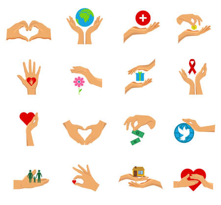 Illustration pour Flat isolated icon set with hands in different gestures symbols of charity care help and love vector illustration - image libre de droit
