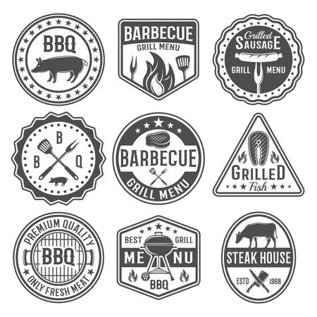 Illustration pour Barbecue black white emblems with sausage on fork roasted meat grilled fish knives spatula isolated vector illustration - image libre de droit
