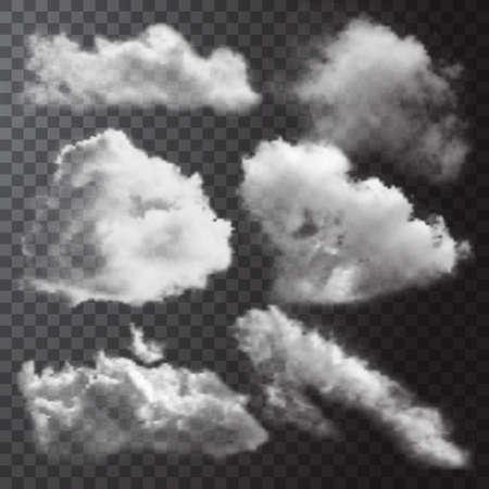 Illustration pour Realistic white clouds icon set with different shapes and sizes on transparent background vector illustration - image libre de droit
