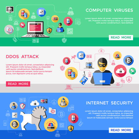 Illustration for Internet security horizontal banners set with computer viruses spam attack hacker files protection isolated vector illustration - Royalty Free Image