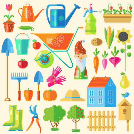 Illustration pour Colored icon set with devices for arranging and garden decoration and other attributes including the harvest - image libre de droit