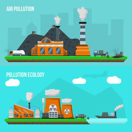 Illustration pour Two horizontal environmental pollution banner set with descriptions of air pollution and pollution ecology vector illustration - image libre de droit