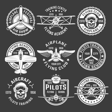 Illustration pour White color airplane emblem set with description of air show flying school pilots training vector illustration - image libre de droit